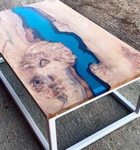 Обеденный/ журнальный стол с полимером. Стиль ЛОФТ