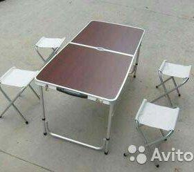 Набор стол алюминиевый раскладной + 4 стула