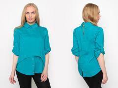 новая блузка бирюза оригинального кроя 46 р-р