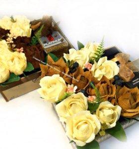 Подарки (букеты,свит-боксы) с чаем,кофе,конфетами