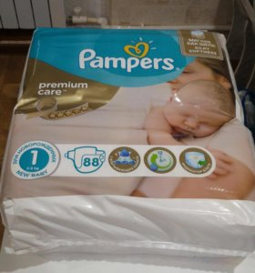 pampers premium care 1(2-5kg)88штук