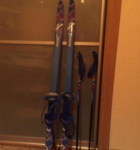 Лыжи детские беговые 120см с палками