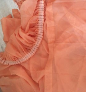 Тюль-вуаль персиковая на шторной ленте