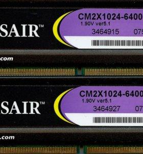 DDR2 2Gb Corsair 2x1Gb PC2-6400 800Mhz v5.1