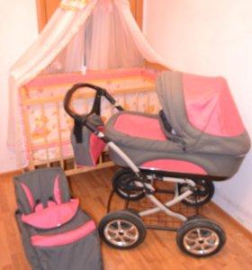 розовая коляска с кроваткой-качалкой
