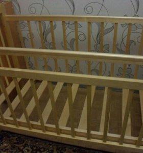 Кроватка детская+ортопедический матрац+балдахин+