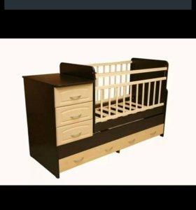 Детская кровать- трансформер,3 положен с маятником