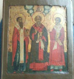Икона 17-18 век ковчег Василий , Григорий , Иоанн.