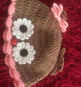 Вязанная детская шапочка-совёнок