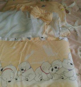 Бортики в детскую кроватку + балдахин