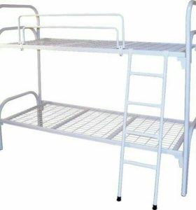 Металлическая двухъярусная кровать (белая)