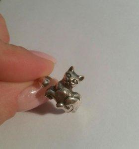 Кольцо кошечка серебро 925