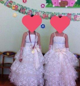 Платье нарядное с перчатками