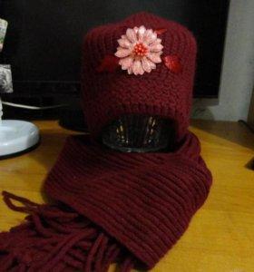 Комплект шапка и шарф (новый)