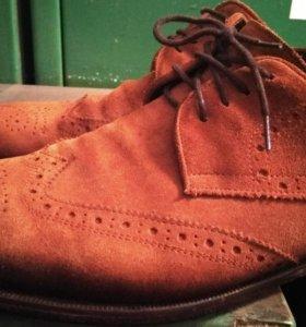 Замшевые туфли итальянские из рыжей замши