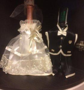 Украшения на свадебные бутылки