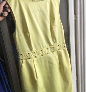 Платье коктейльное желтое