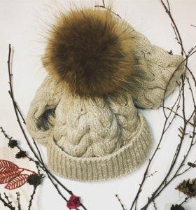 Вязаная шапка и снуд