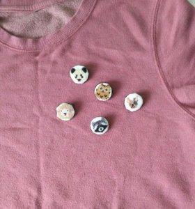 Значки с вышивкой, ручная работа