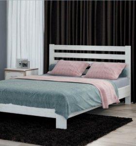 Кровать массив белая 1400 + основание