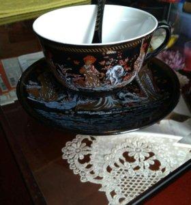 Новая Чашка с блюдцем и ложечкой