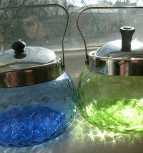 Сахарница ссср синее стекло зеленое винтаж рубин