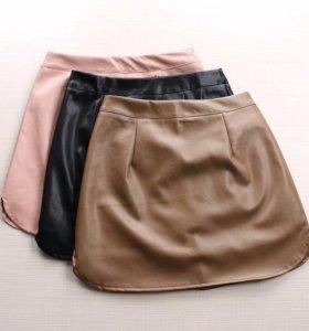 мини юбка эко кожа