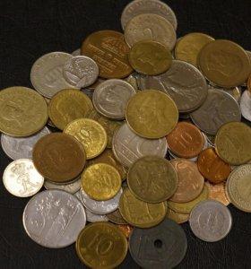 80 монет мира без повторов, нечастые и экзотика