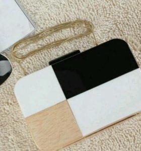 деревянный модный новый клатч, чёрный белый бежевы