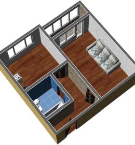 Квартира, 1 комната, 38.2 м²