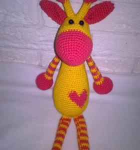 Вязаная игрушка,жирафик