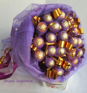 Оригинальные подарки, букеты из конфет.