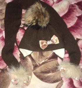 Демисезонная шапка и шарф, мех натуральный
