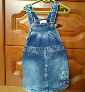 Новый Сарафан детский джинсовый