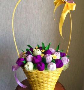 Корзина букет из конфет сладкий подарок