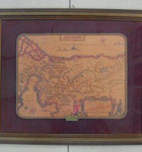 """Гравюра """"Карта"""". Рама и оформление конец хх века"""