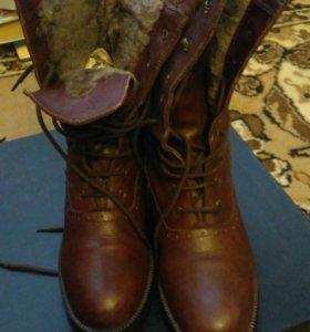 Женские зимние ботинки, кожа, мех