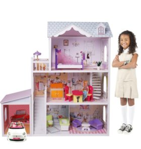 Кукольный домик с мебелью и гаражем