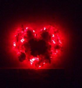 Светящееся сердце из цветов. Подарок