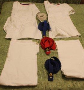 Кимоно 4 шт, пояса красно-синие