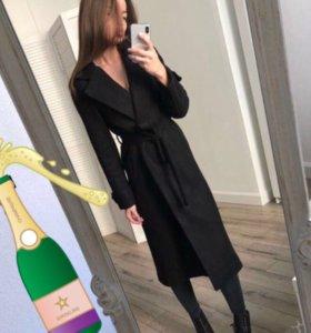 Пальто халат черное длинное шерстяное кашемир