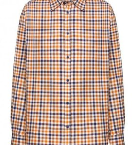 Новая мужская рубашка в клетку, цвет ореховый.