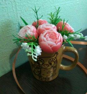 Цветы пионы мыло ручной работы