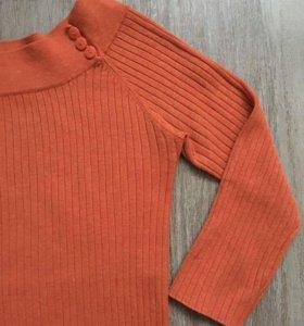 Zara, лапша, рукав 3/4, пуловер морковный