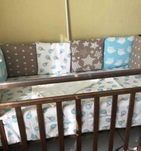 Комплект в кроватку, бортики -подушки+постельное