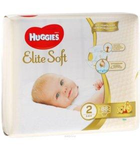 Подгузники (памперсы) Хаггис Элит Софт 2 (3-6 кг)