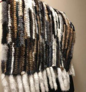 Палантин из вязаной норки разноцветный