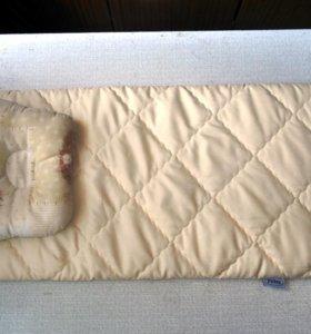 Кокосовый матрасик и подушка в коляску