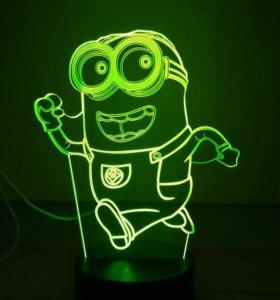 3D Светильник ночник Миньон