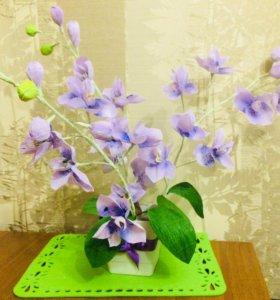 Орхидеи из гофре бумаги